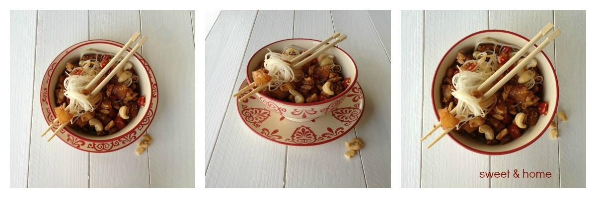 noodles de pollo con piña