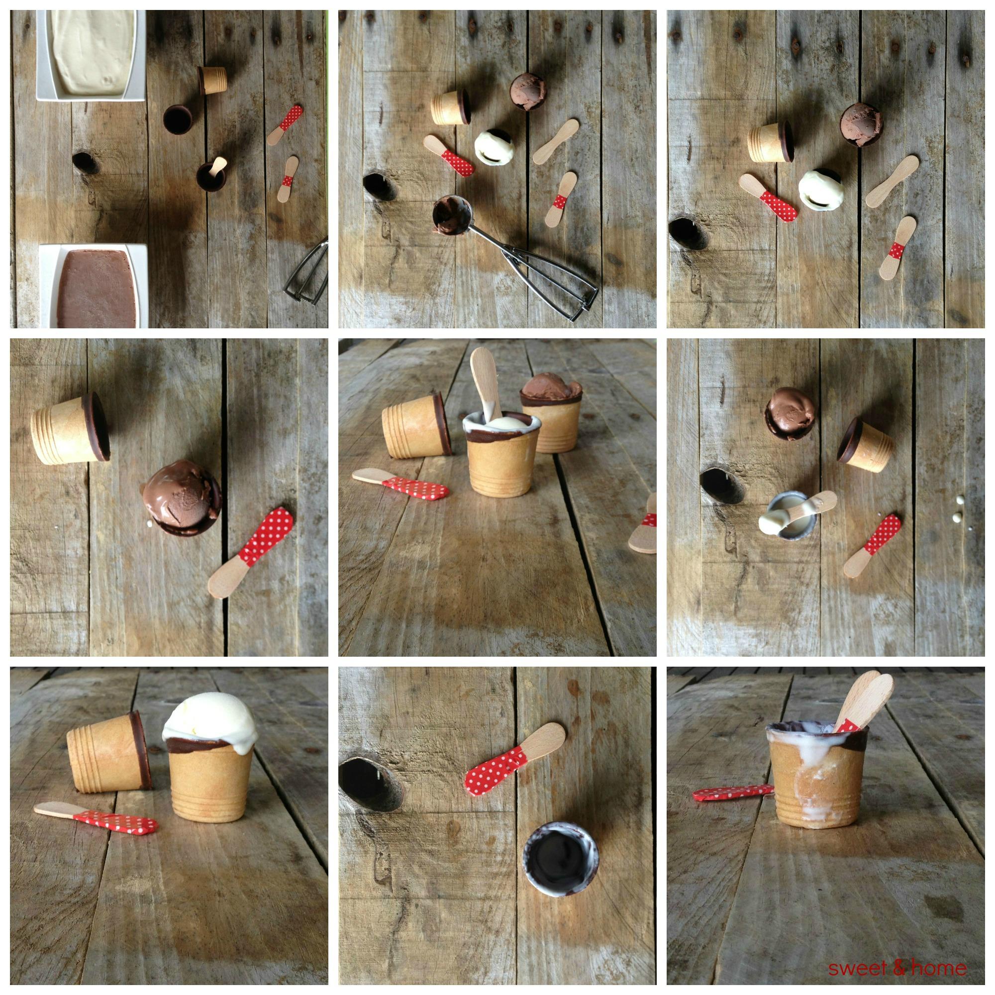 helados de leche condensada y chocolate
