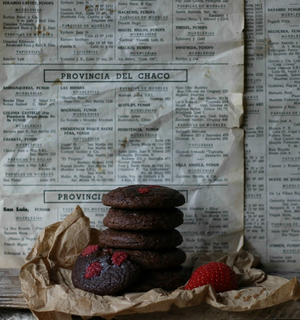 galletas de chocolate y fresa